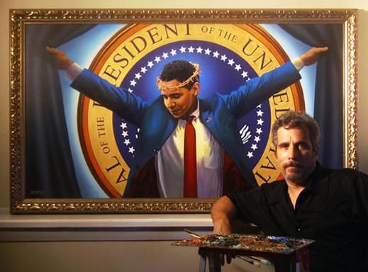 "Artist Michael D'Antuono with ""The Truth"""