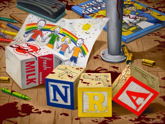 'Brought to You By the NRA': Artist Unveils Provocative Sandy Hook Painting